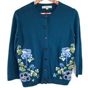 LOFT Cardigan Sweater Women's  Blue Floral